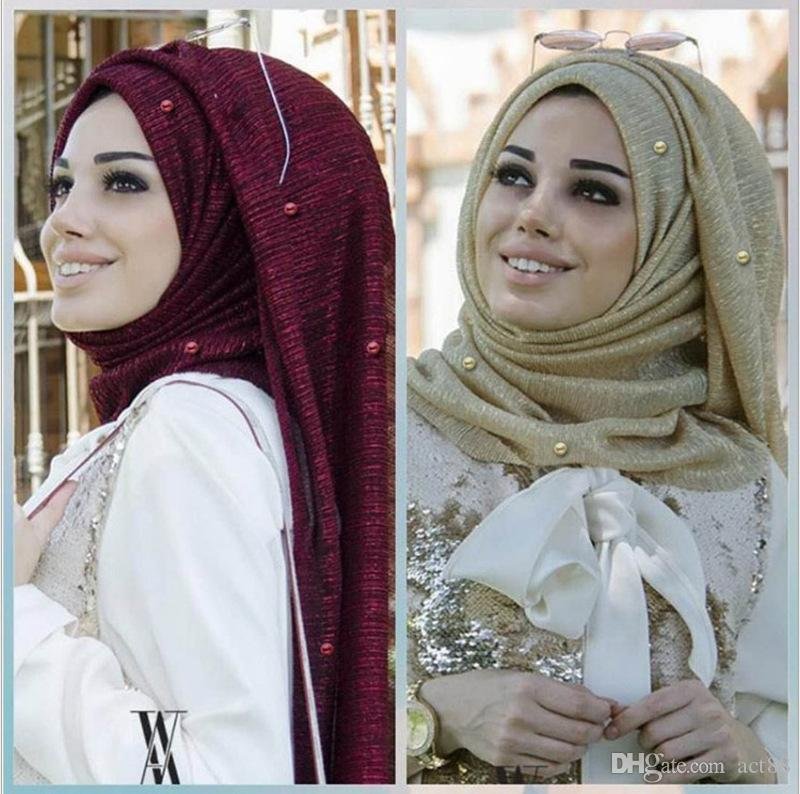 Hot style Muslim headscarf plain Arabic scarf with beaded Muslim head scarf with gold frilled edge