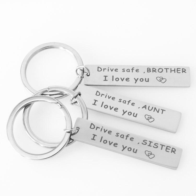 201902 Hot Sale Engraved Drive Safe Keychain Stainless Steel Birthday Gifts  to Grandpa Grandma Dad Mom Brother Sister Car Keyring M53Q