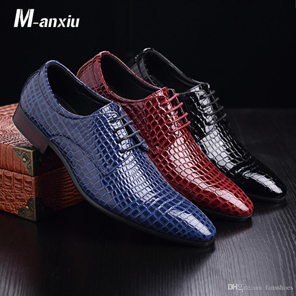 c126422e256 M-anxiu Crocodile Pattern PU Leather Business Shoes Men's Pointed Toe  Wingtip Oxford Shoes Fashion Lace Up Formal Dresss #7992