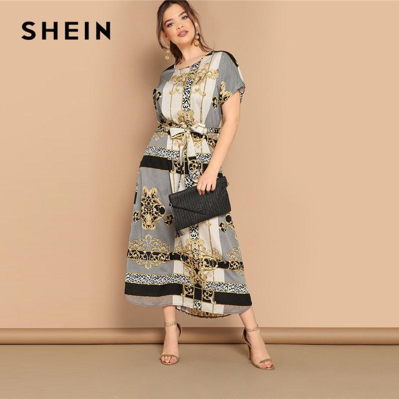 7abfd86adc 2019 Plus Size Mixed Scarf Print Curved Hem Belted Maxi Dress Women Modest  Casual Short Sleeve Straight Summer Dresses C19041001 From Linmei0004