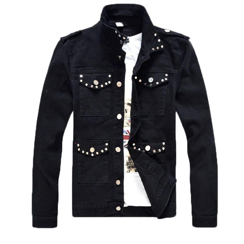 Compre Newsosoo Punk Style Chaqueta De Mezclilla Hip Hop Para Hombres Multi  Bolsillo Remache Casual Jeans Chaqueta Primavera Otoño Outwear Abrigo Para  ... 4dcc11ed66d