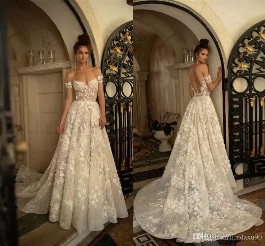 370ef99520 Discount Vintage 2019 Berta Wedding Dresses 3D Floral Appliqued Lace Off  The Shoulder Bridal Gowns Sweep Train Tulle Boho Wedding Dress Wedding  Dresses For ...