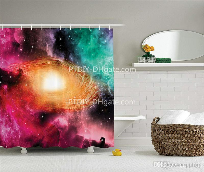 2019 Zodiac Shower Curtain Inspirational Decor Colorful Astronomy Picture Of A Spiral Galaxy With Stars And Stardust Print From Ptdiy1 2136
