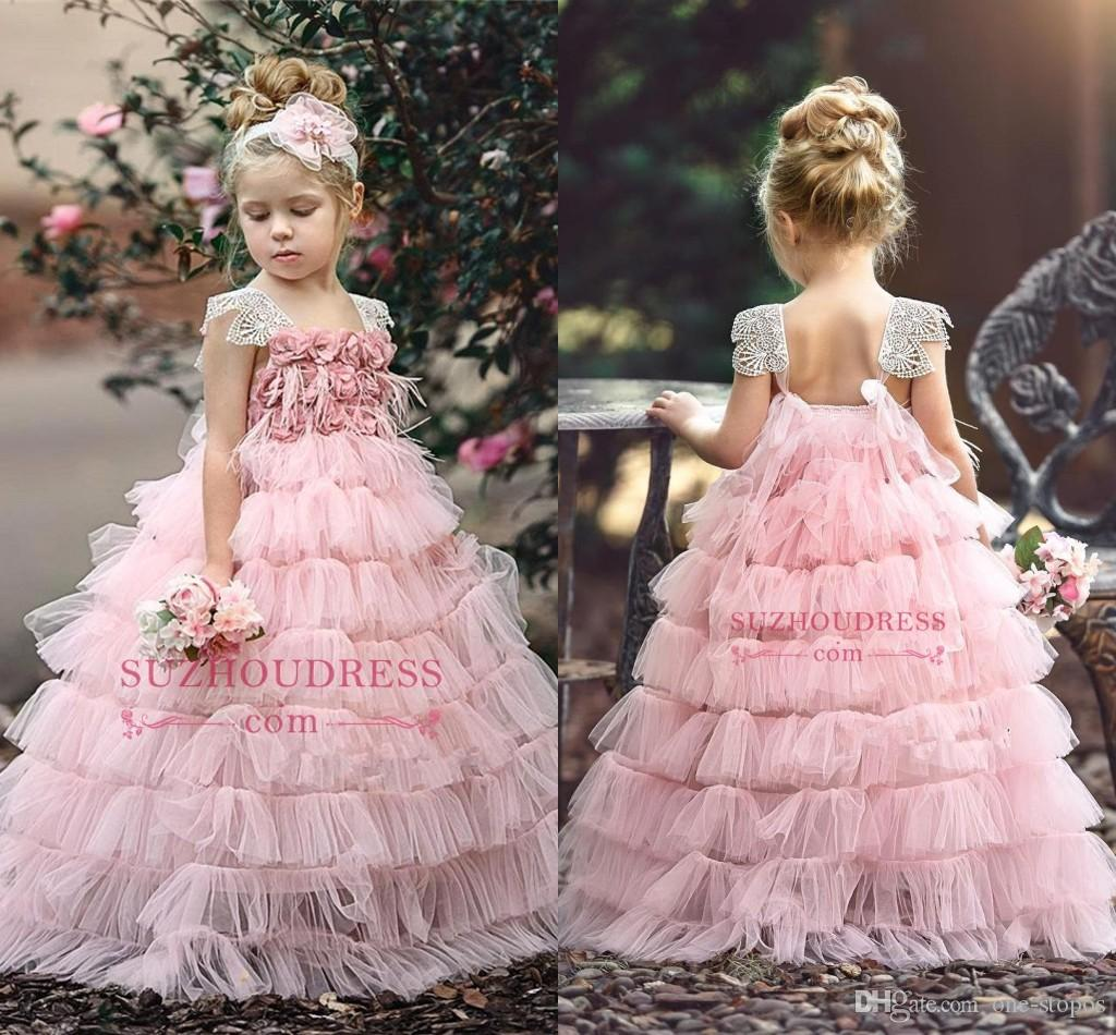 7d81fa58e1ea7 Blush Pink Layers Ball Gown Flower Girl Dress 2019 Hand Made Flowers  Princess Birthday Patry Gown Girl Formal Dresses Custom Made