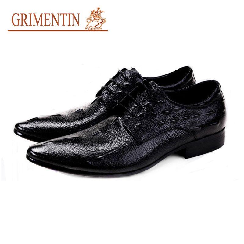 5bfc5e50 Compre GRIMENTIN Verano Marca De Lujo Para Hombre Zapatos De Vestir De Cuero  Genuino De Impresión De Cocodrilo Oxford Zapatos Diseñador De Moda Formal  De ...