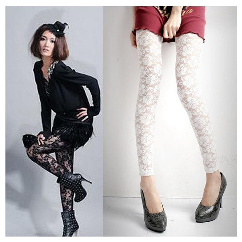 0eb8ec21da4c4 Fashion Women's Black White Lace Wet Look Metallic Costume Clubwear Tight  Pants
