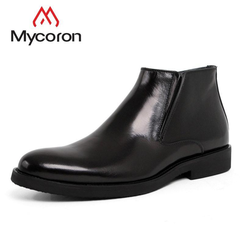 Mycoron 2019 Top Brand Men Genuine Leather Ankle Boots Man Shoes