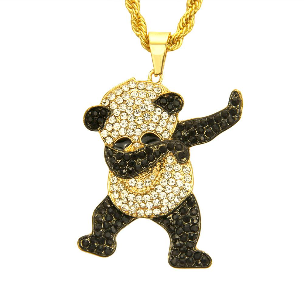 Gold Color Rhinestone Luxury Hip Hop Dancing Funny Animal Panda Pendant Iced out Rock Hip Hop Necklaces for Mens Jewelry Gifts