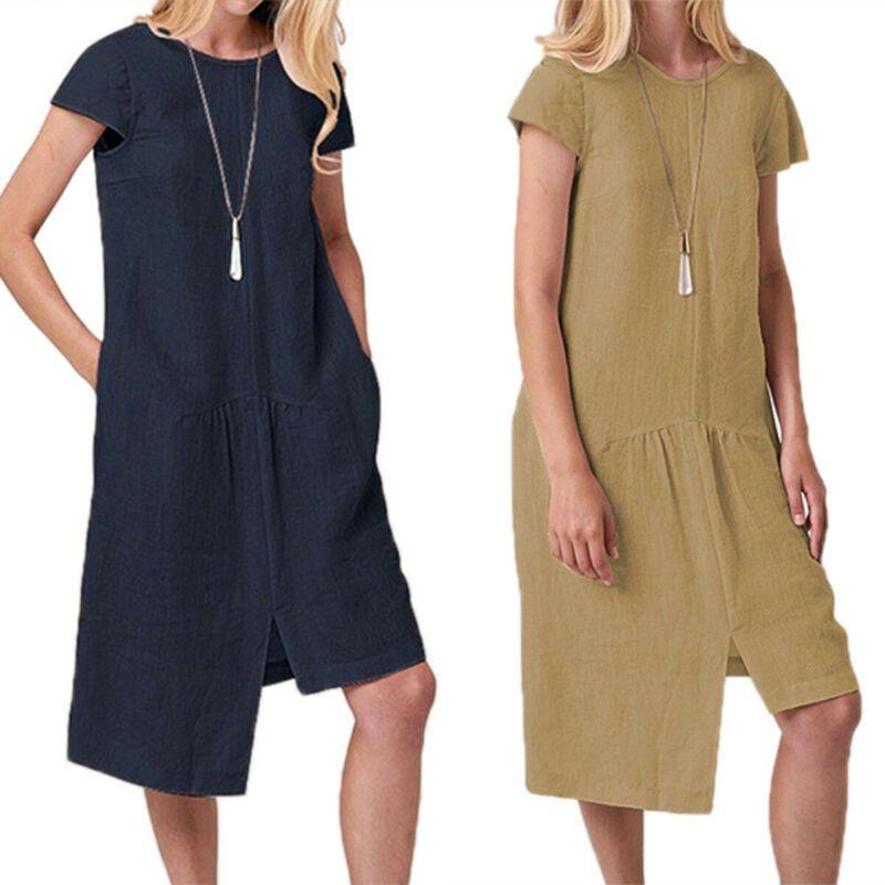 209f054e525a Vestido de manga corta de manga corta Kaftan de las mujeres Irregular  Algodón de lino Túnica Vestido de tirantes