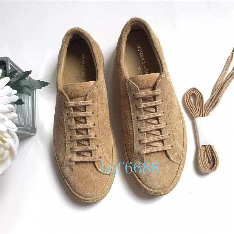 eee8429af36e Designer Luxury Shoes Woman By Common Projects Low Suede Amber Yellow Gold  Casual Fashion Sneakers Size 35 46 Comfortable Shoes Discount Shoes From  Yeezy500 ...