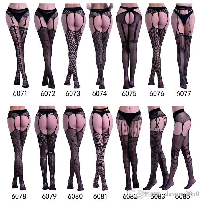8d2b02cc1f639 Women's Fishnet Stockings Open Crotch Thigh Sheer Tights Black Sexy Stripe  Elastic Stockings Lace Lingerie Embroidery Pantyhose yd008