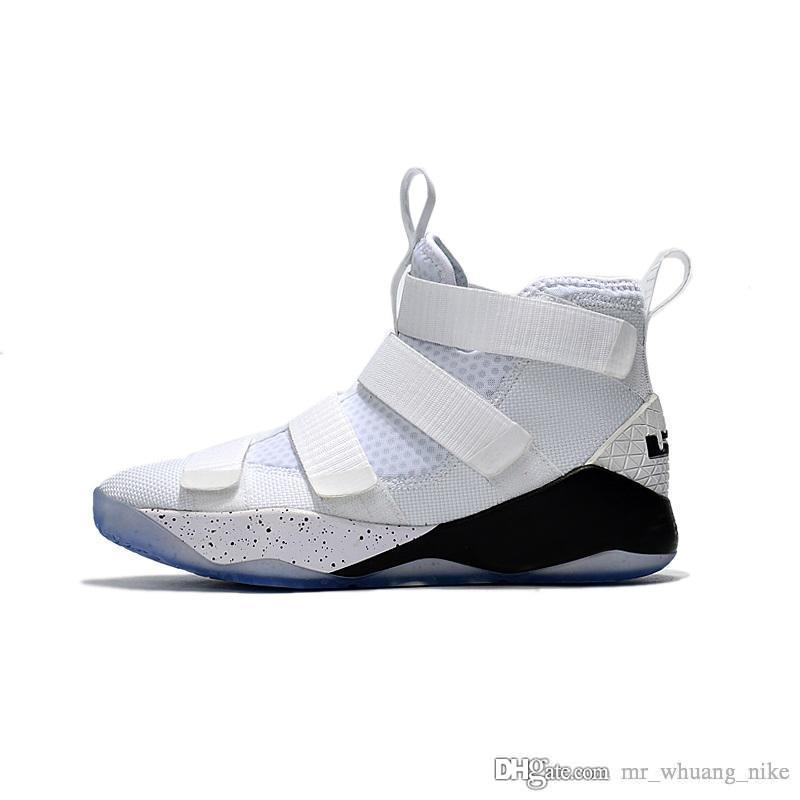 sale retailer 849a4 7656a Mens lebron soldier 11 basketball shoes White Black youth kids soldiers xi  outdoor sneakers with box