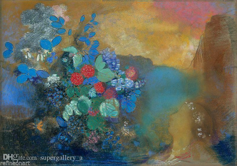 Odilon Redon Ofelia Entre Las Flores Home Wall Art Decor Pintado A Mano Hd Print Pintura Al óleo Sobre Lienzo Wall Art Canvas Pictures 190907