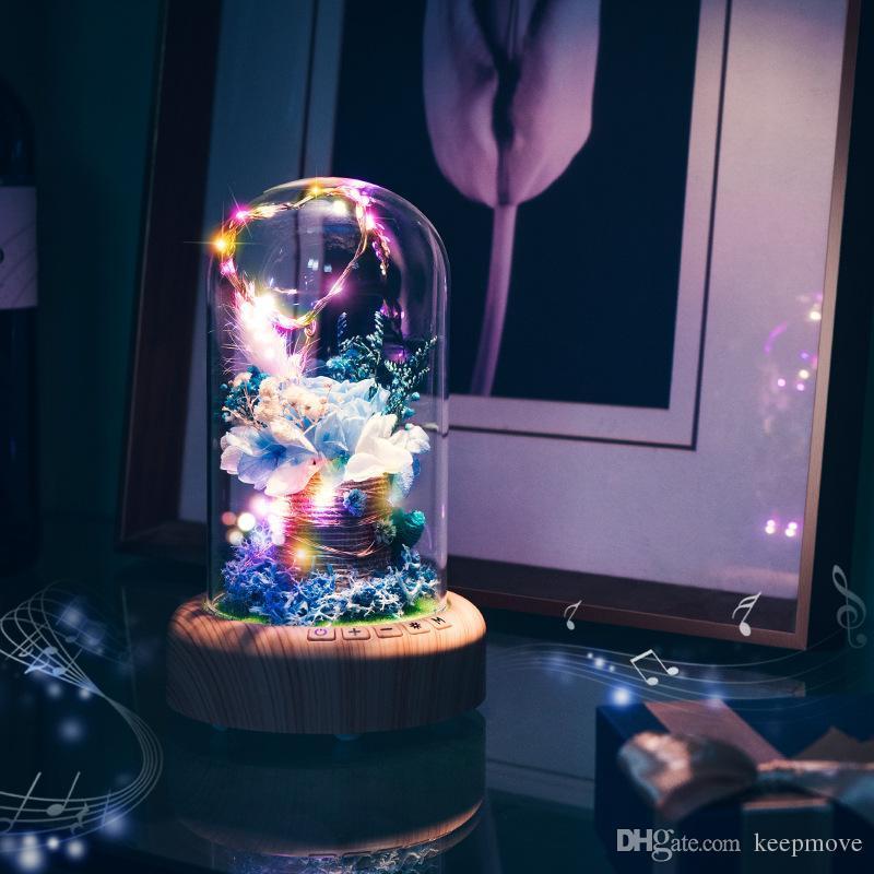 De Flor Led Botella Deseando Bluetooth Inalámbrico Creativa Lámpara Romántica Eterno Mesa Altavoz Navidad Día Noche Luz Para Decorativa H2IYEWD9