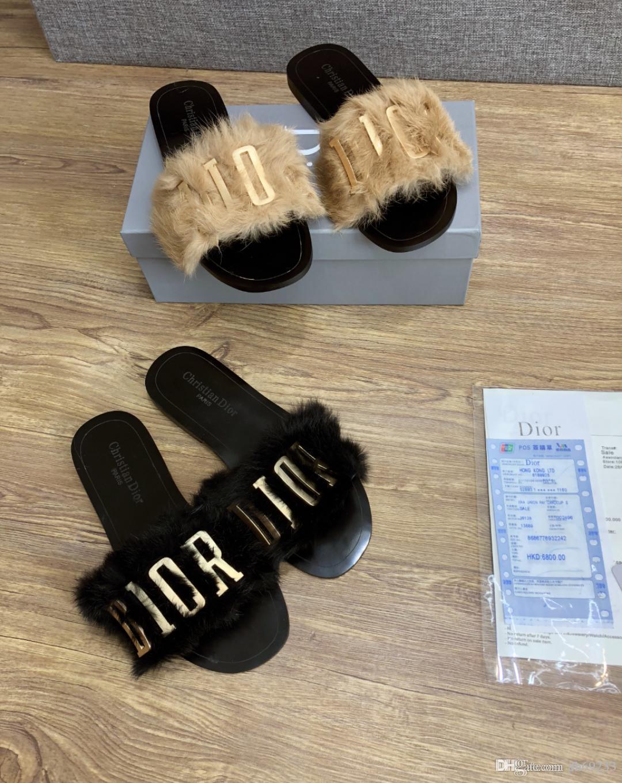 Women/'s Sliders Luxury Fox Fur Indoor Outdoor Slides Slippers Sandals Shoes Home