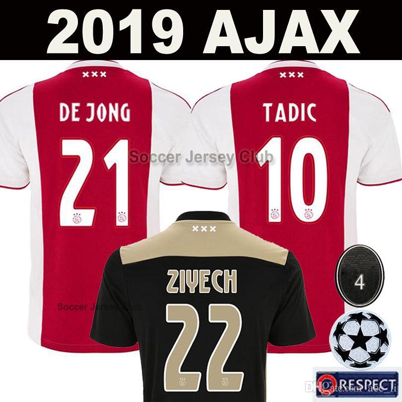 02d85d6ac 18 19 Camiseta De Fútbol AJAX FC DE JONG TADIC DE LIGT ZIYECH VAN BEEK  NERES DOLBERG MEN KIDS HOMBRES NIÑOS Soccer Jersey Top Calidad De Tailandia  2019 ...