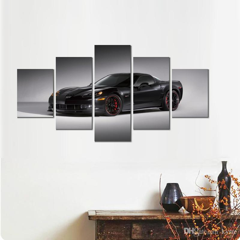Cool 5 Sets Chevrolet Corvette Black Canvas Printed Painting Wall Pictures For Living Room Decor Download Free Architecture Designs Scobabritishbridgeorg
