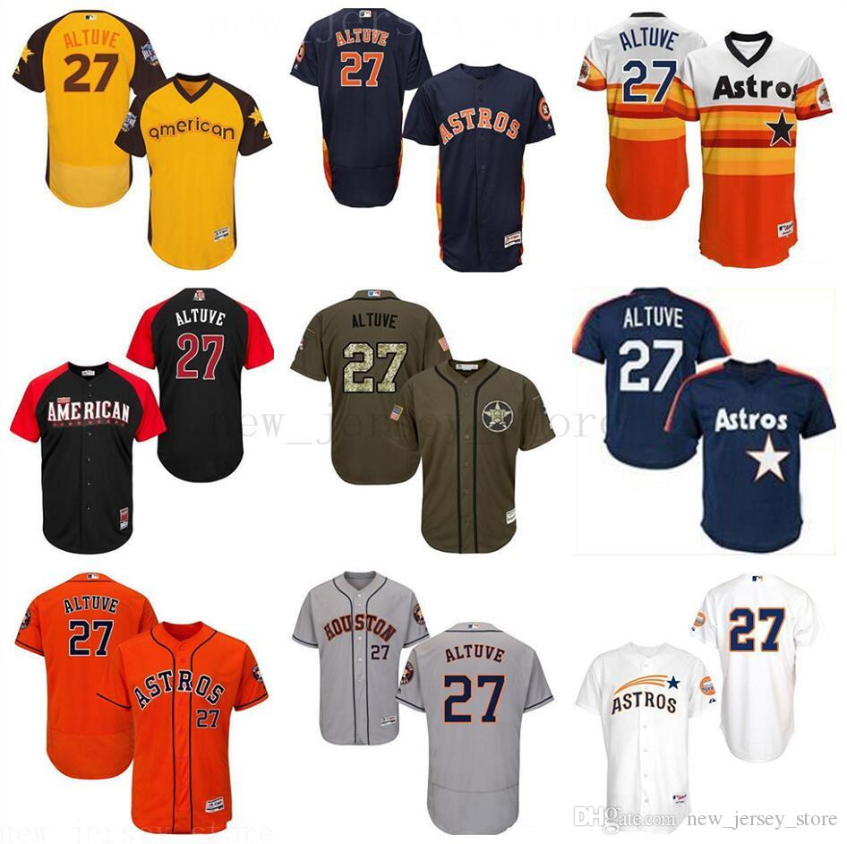 sneakers for cheap 8a8ae 2d8fa Mens Women Youth Hn Astros Jose Altuve Orange grey white green gold  Alternate Flex Base Authentic Collection Kids Player Jersey
