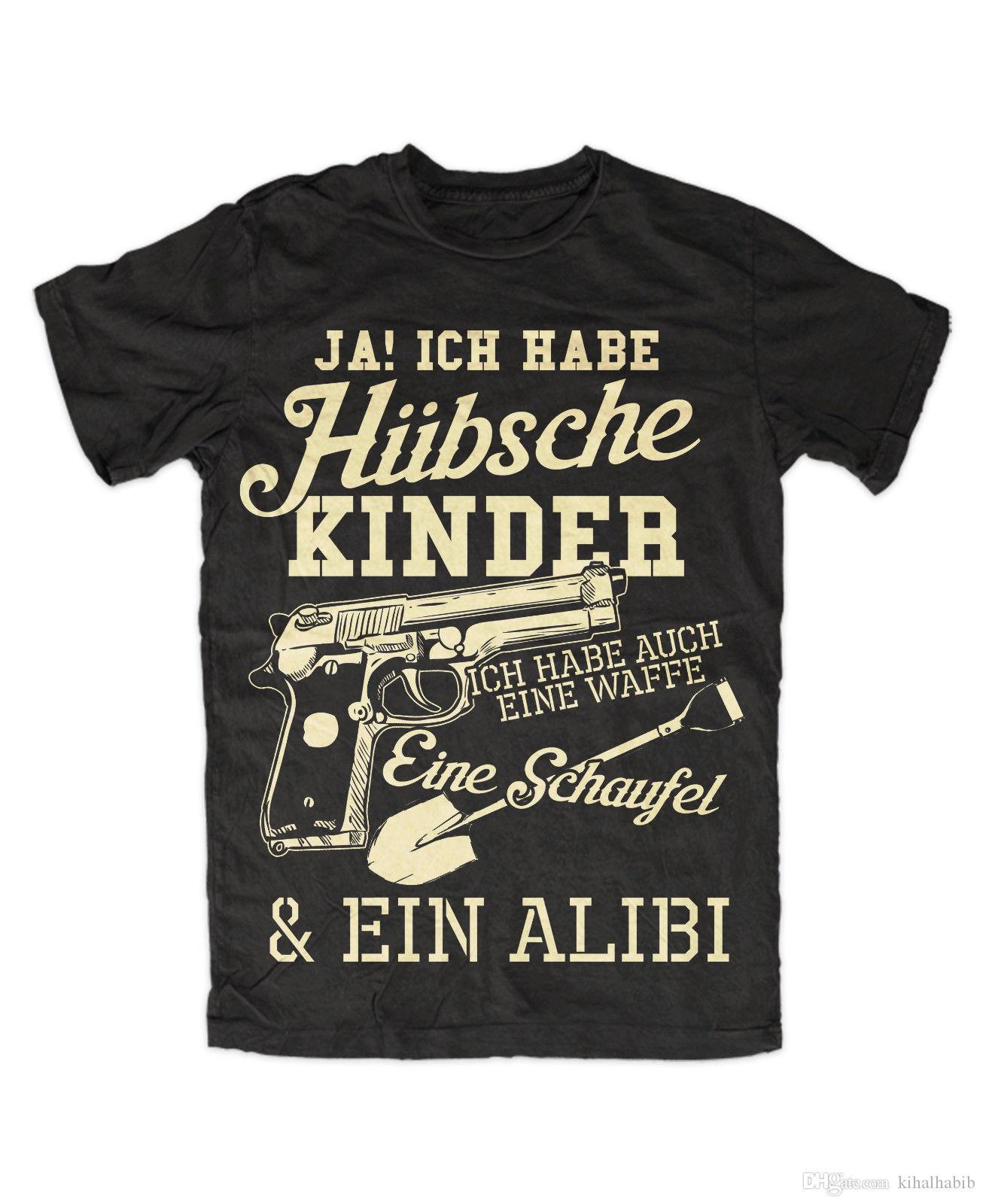 Ich Habe Hübsche Kinder T Shirt Vater Spruch Schaufel Waffe Alibi