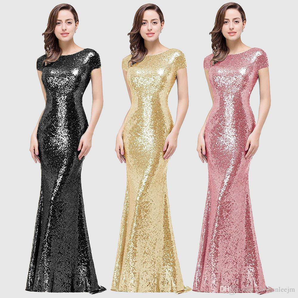 Sexy Stretch Silver Sequin Maxi Dresses 2019 Plus Size Formal Prom Long Dresse Floor Length V Neck Slim Evening Wedding Party Mermaid Dress