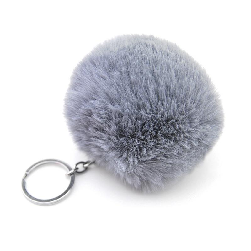 8CM Fluffy Faux Rex Rabbit Fur Ball Pom Pom Keychain Women Bag Charms Man Trinket Keyring Hare Toy Key Chain Wedding Party Gift