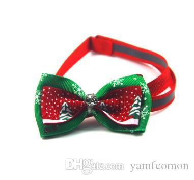 Dogs Bow Ties for Christmas Pet Bow Ties with Rhinestones Adjustable Tie Collars Neckties Navidad Decorations Ornaments