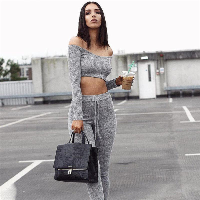 18f7c7f3ead 2019 Fashion Set Women Club Wear Clothing Sexy Long Sleeve Crop Tops Pencil  Pants Two Pieces Outfits C190416 From Shen07, $16.6 | DHgate.Com