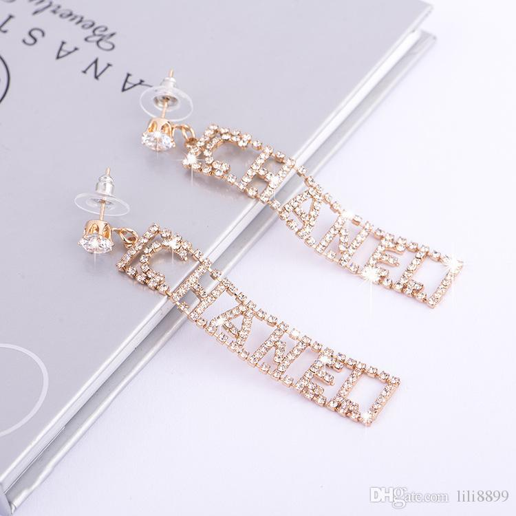 Xiao yi shiny zircon long earring pendant set with diamond English letter earring brand exaggerated earring female