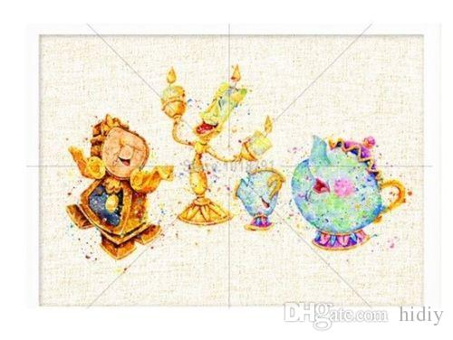 Full Drill DIY 5D Diamond Painting Mr And Mrs Potts Limiere And Cogsworth  Cartoon Classic Character Home Decor Handmade #A1