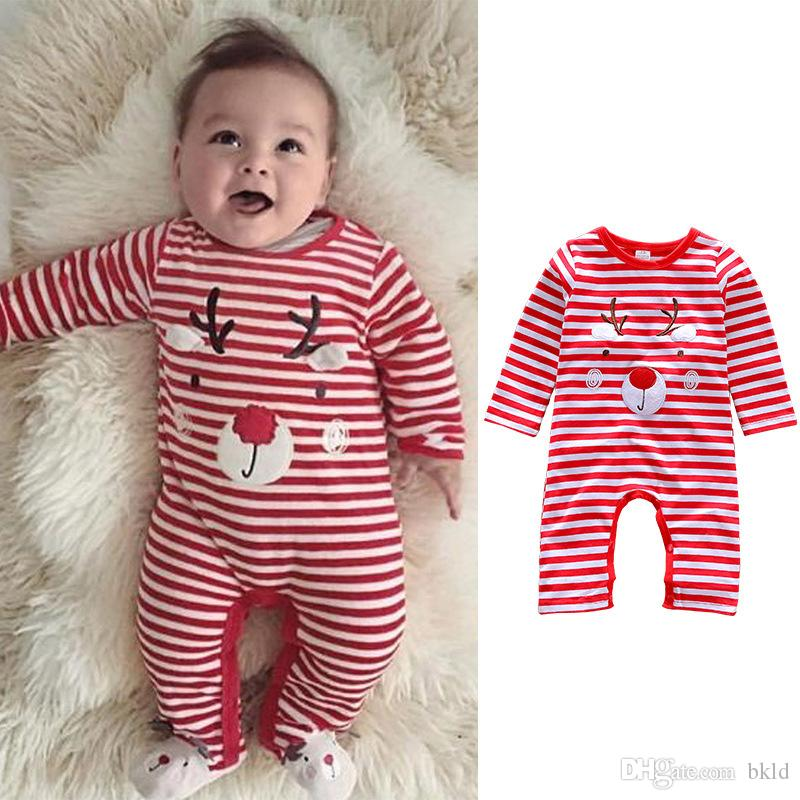 f12c6e20ea4ab Baby Girl Rompers Autumn Newborn Baby Clothes For 0-24M Girls Long Sleeve  Striped Christmas Cute Jumpsuit Kids Baby Outfits Clothes