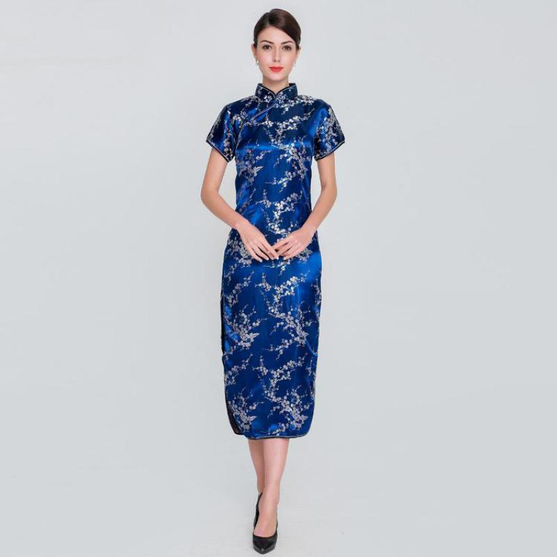 2cb3c6431bb 2019 Pop 2019 Women Rayon Satin Qipao Floral Chinese Dress Elegant Slim  Prom Party Dress Vintage Mandarin Collar Cheongsam Oversize S 6XL From  Tikoy