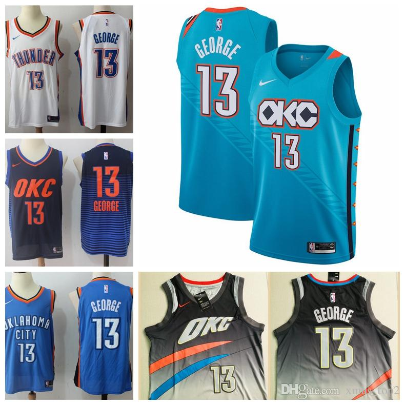 timeless design 521b9 3ccc7 2019 Mens Oklahoma City 13 George Thunder Basketball Jerseys New The City  Jerseys Thunder George PG13 Jerseys Stitched White Blue Green