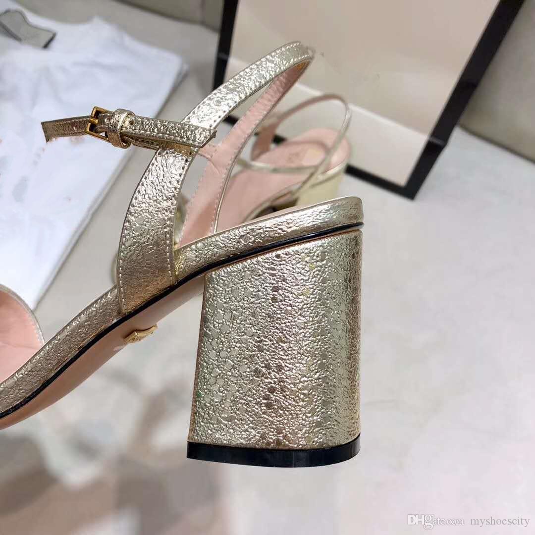 zapatos de tacón alto de cuero de lujo de la marca sandalia tamaño de los talones de oro negro 7cm diseñador de las mujeres sandalias de verano 34 a 41