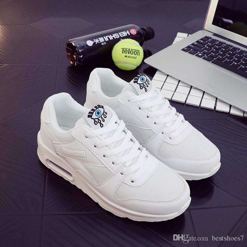 Feminino 2018 Fashion Korean White Platform Casual Shoes Lace Up ... a3c4f0a4fe16