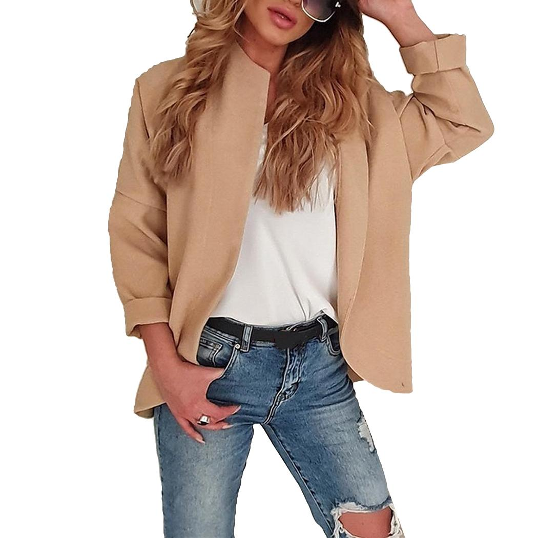 Women Casual Open Stitch Jacket Solid Color Slim Fit Coat Ladies Outerwear Spring Autumn Long Sleeve Irregular Jackets Cardigan