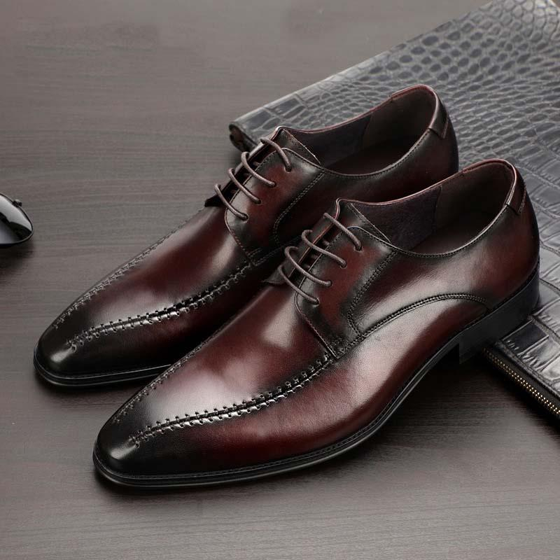 Luxury Genuine Leather Formal Dress Shoes Men Pointed Toe Lace Up Elegant Business Shoes Comfortable Oxfords Footwear Size