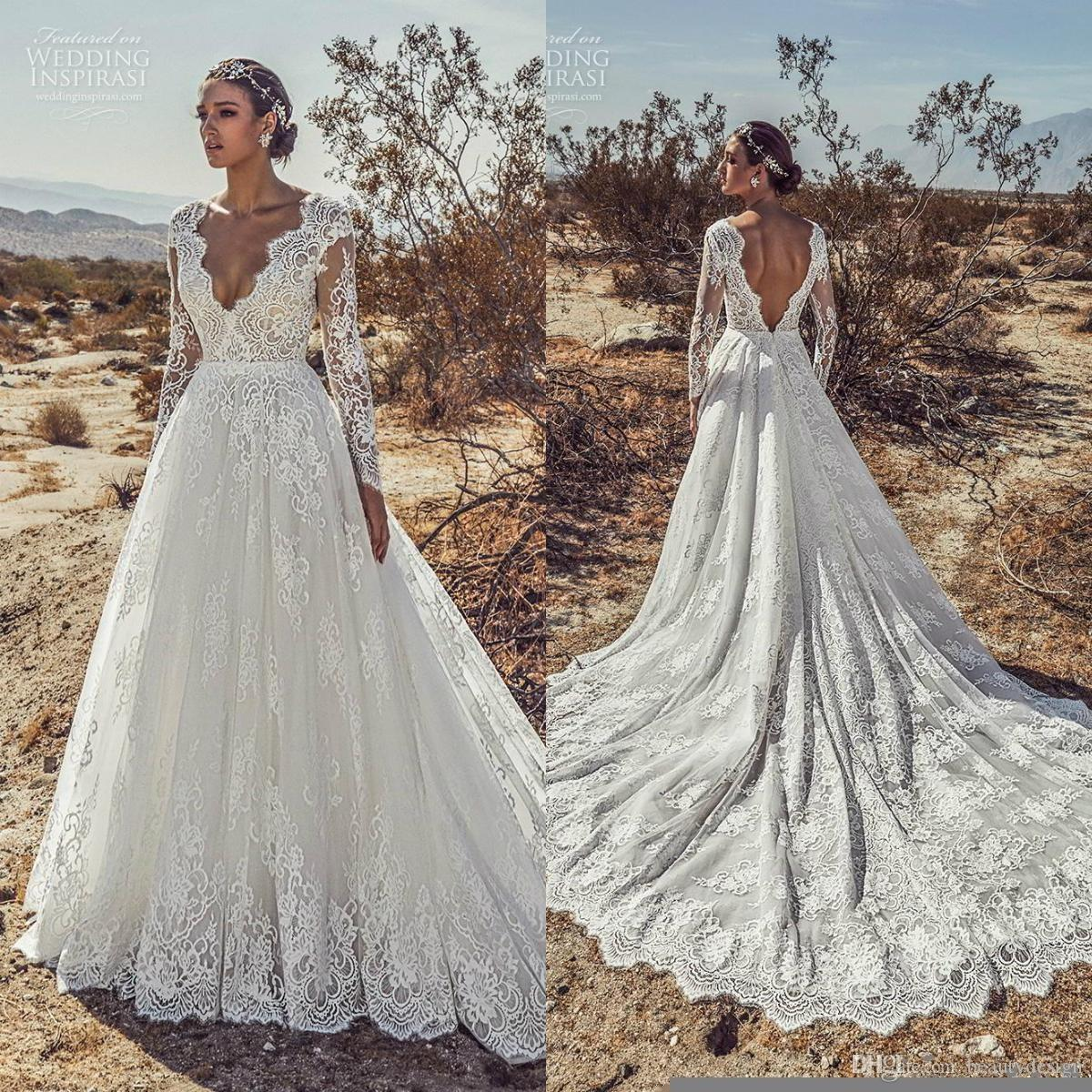Discount Julie Vino 2019 New Beach Wedding Dresses V Neck Lace Long