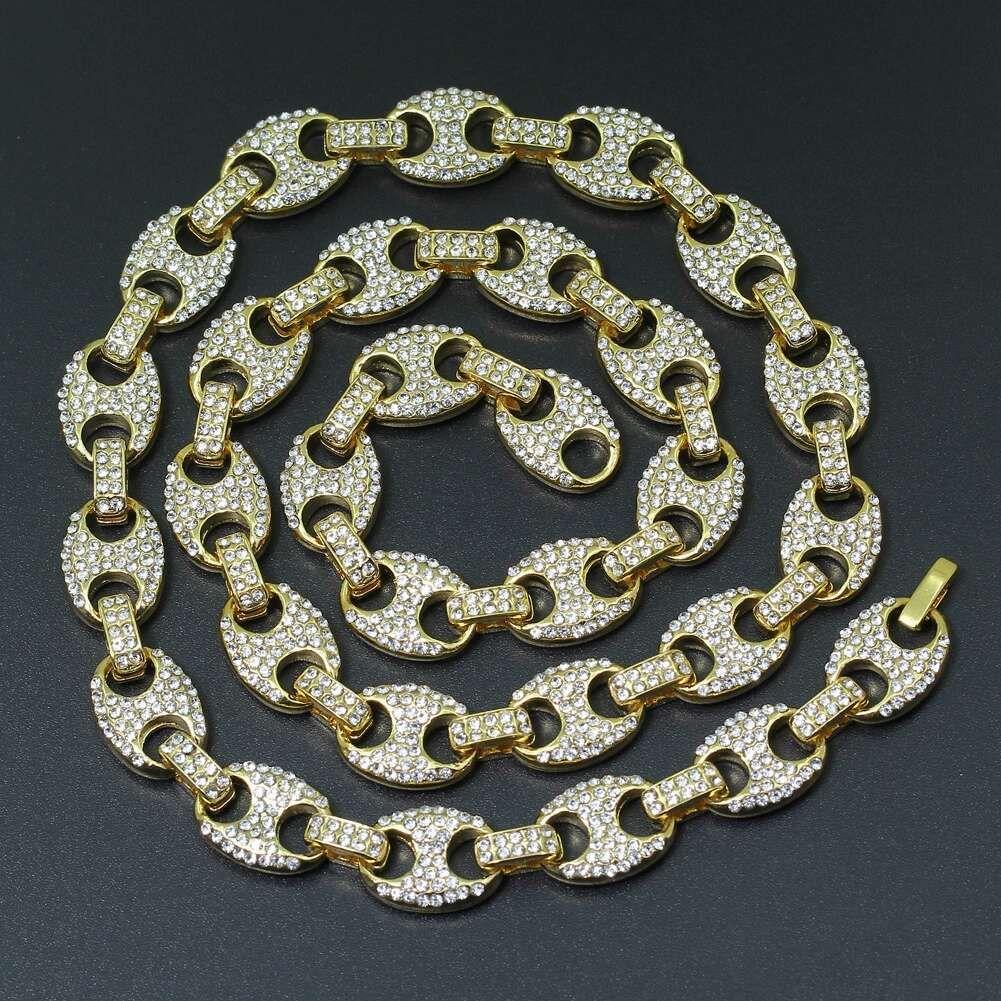 a59da04b3748 Cadena de eslabones de diamantes de hip hop para hombres, diamantes de  lujo, collares de cristal, aleación de diamantes de imitación 18 20 24 ...