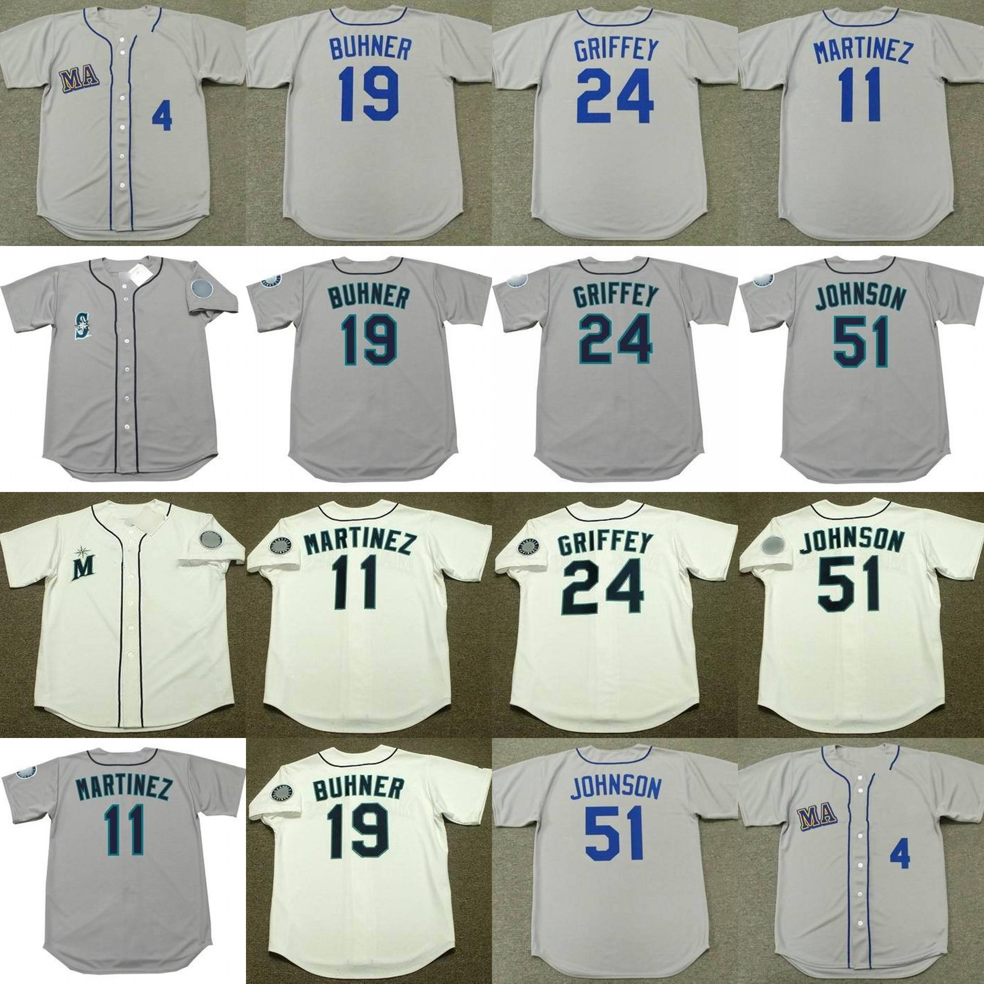 super popular 5eea0 7fecd Men 11 EDGAR MARTINEZ 19 JAY BUHNER 24 GRIFFEY JR. 51 RANDY JOHNSON Seattle  1979 Baseball Jersey