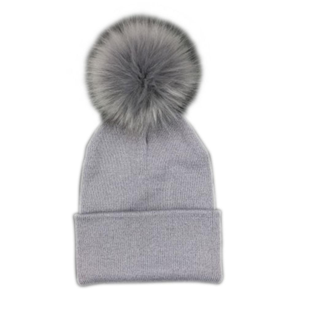 Hat Faux Fur Baby Cap Pompom Bobble Hat For Kids Winter Boys And ... 674473d47f75