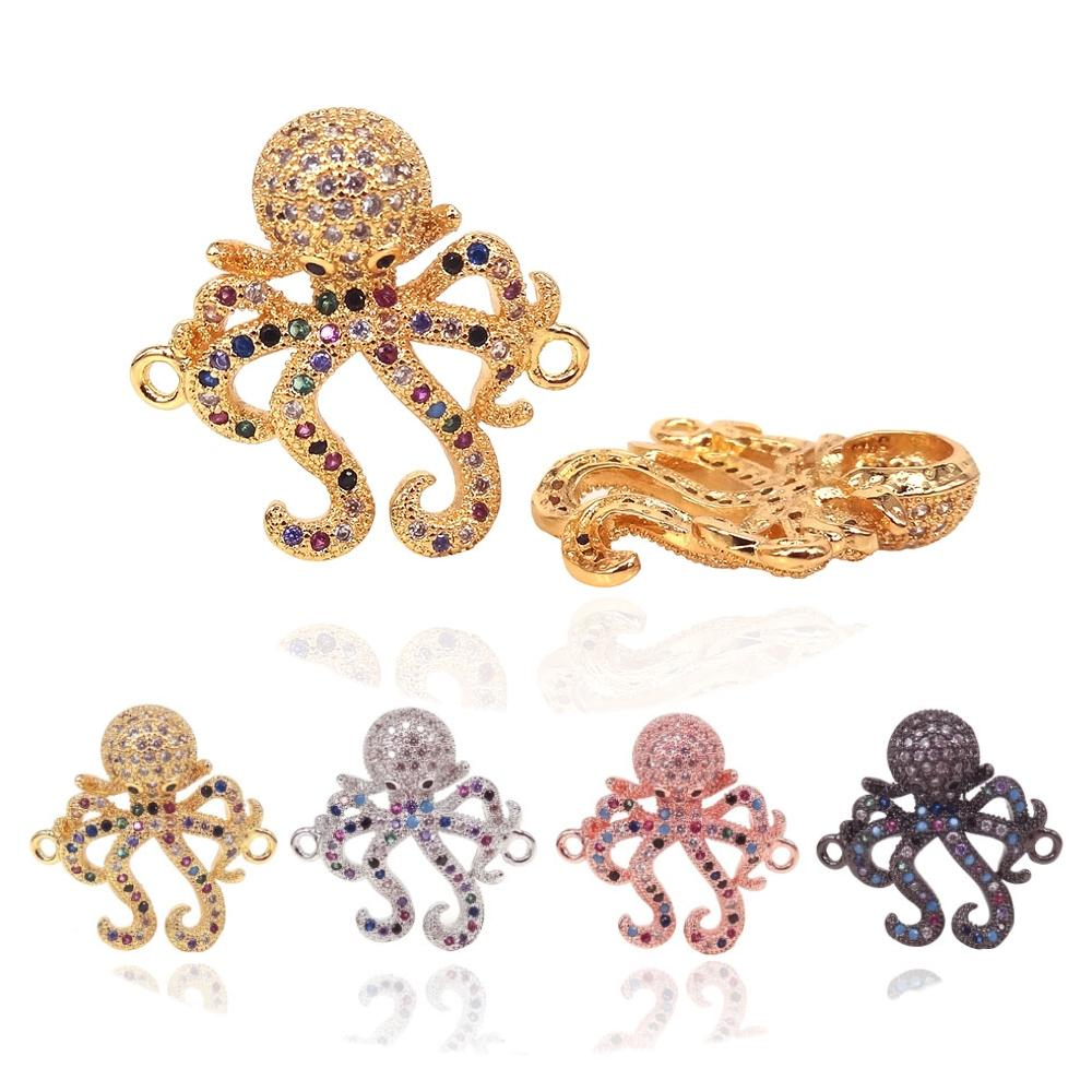 2Pcs DIY Women Charm Bracelets Necklaces Making Findings Accessories Micro Pave Clear CZ Octopus Connector Animal Jewelry