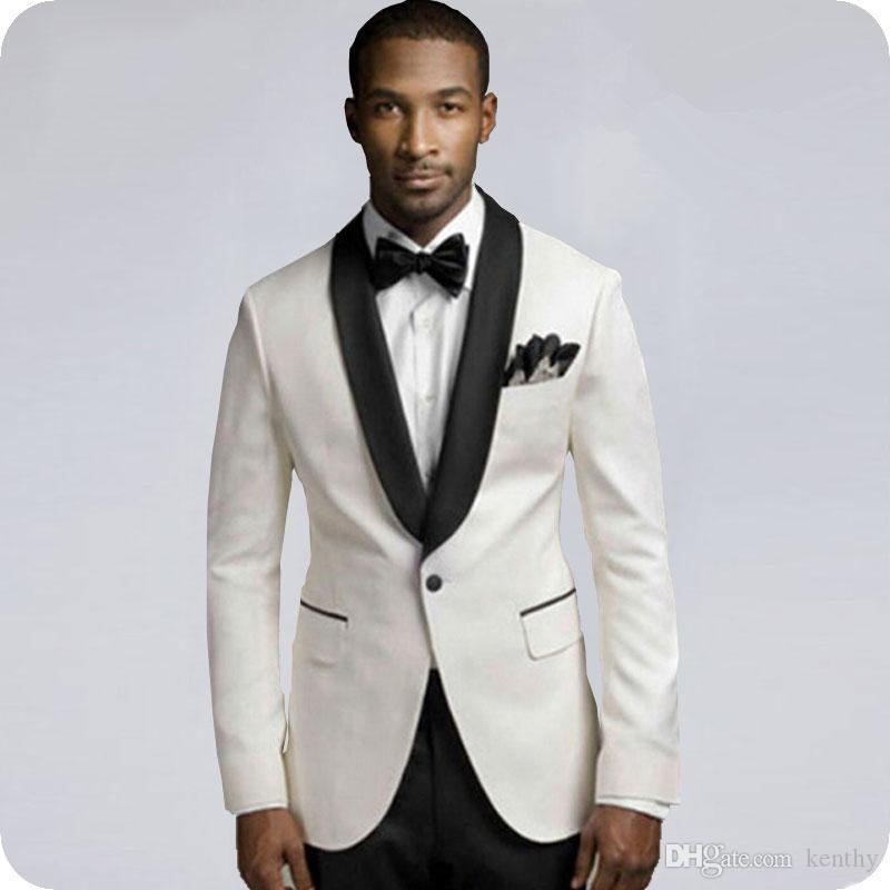 Gli ultimi disegni Ivory Groom smoking Slim Fit Men Wedding Suits nero scialle risvolto Slim Groomsmen Wear 2Piece uomo Blazer Costume Homme