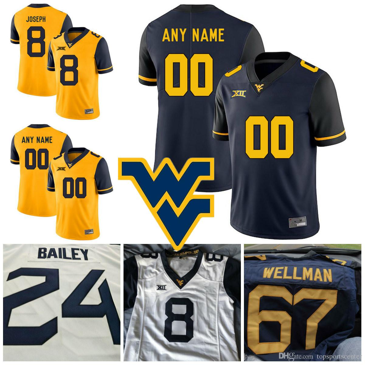 2c0cb4397dd 2019 Men NCAA Custom West Virginia Mountaineers College Football Jerseys  Kyle Bosch Gary Jennings Kenny Robinson Justin Crawford WVU Jersey S 3X  From ...