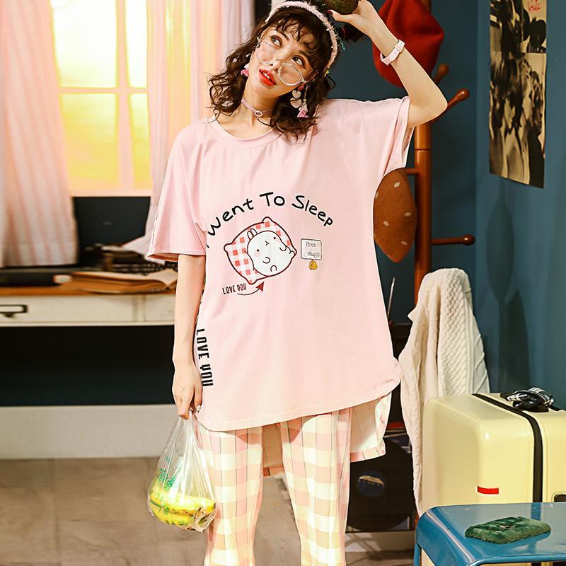 brand new c1c64 be377 Sommer Gestrickte Baumwolle Junge Frauen Pyjama Set Elegante Womens Kariert  Pijama Nachthemden Hosen Pyjama Sets Nachtwäsche Pyjamas Haus