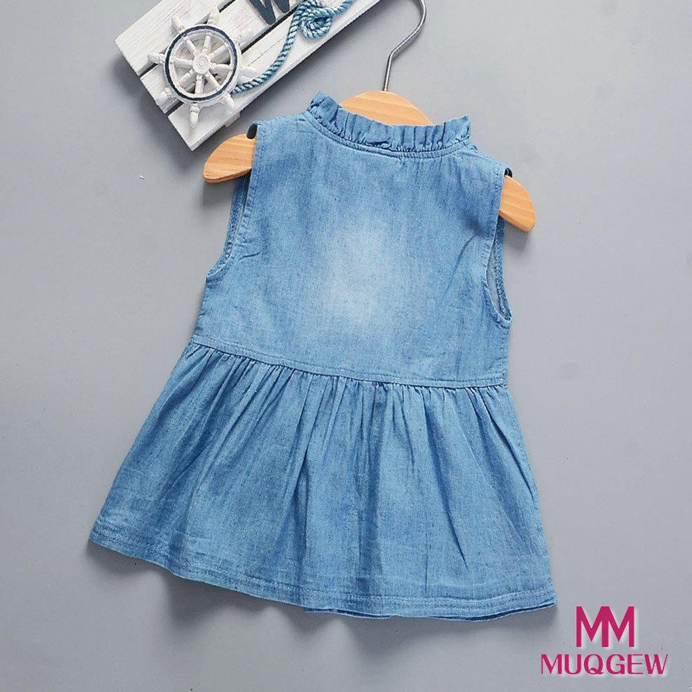 2019 Girl Kids Dress Toddler Baby Girls Solid maniche senza maniche Princess Denim Abiti Outfit Sundress Photo Shoot Girls Dress Spodnie
