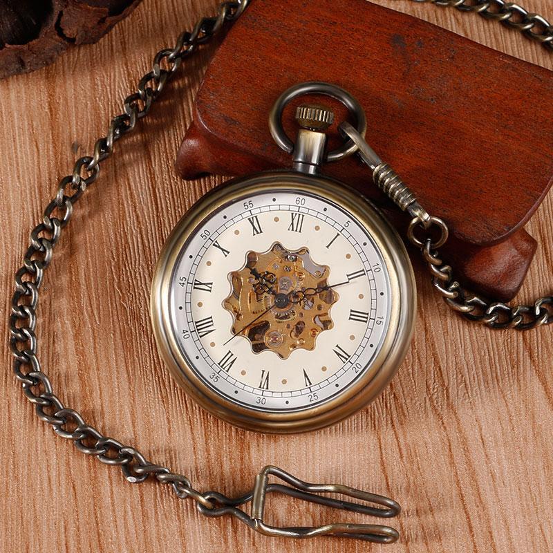 2016 Elegant Design Flower Skeleton Fob Pendant Mechanical Pocket Watch Windup Hand Winding Luxury Clock Chain Unisex Xmas Gift