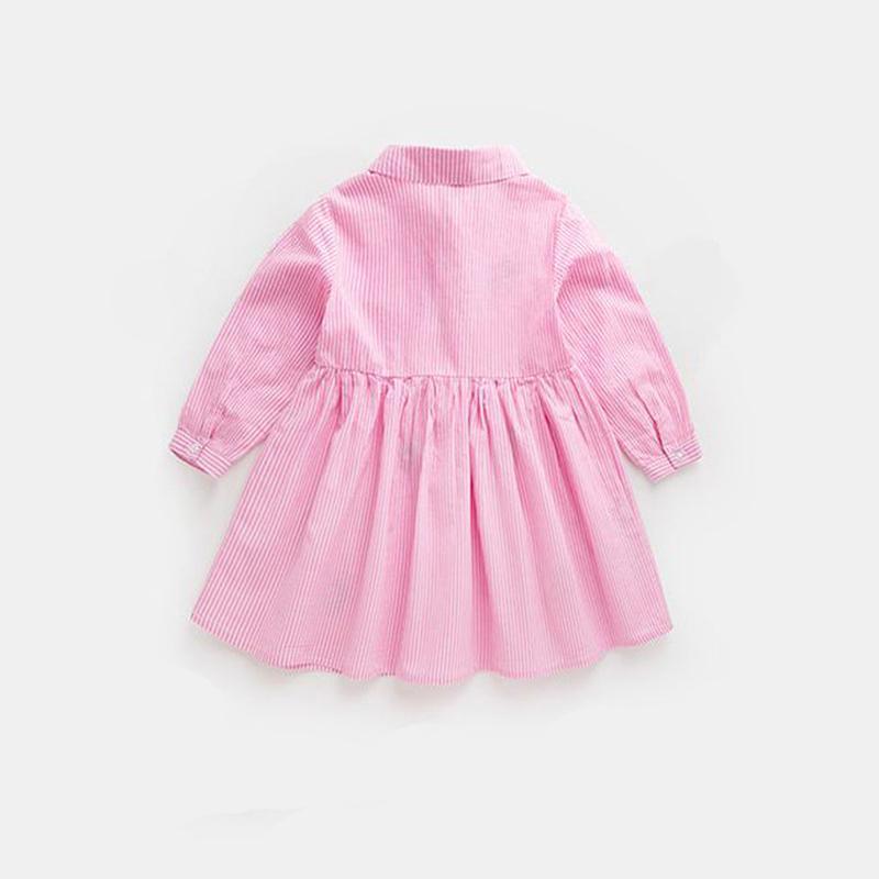 A strisce Neonate abiti in linea nuovo modo Vestito a camicia Cottom Carino Abito a maniche lunghe 18081701