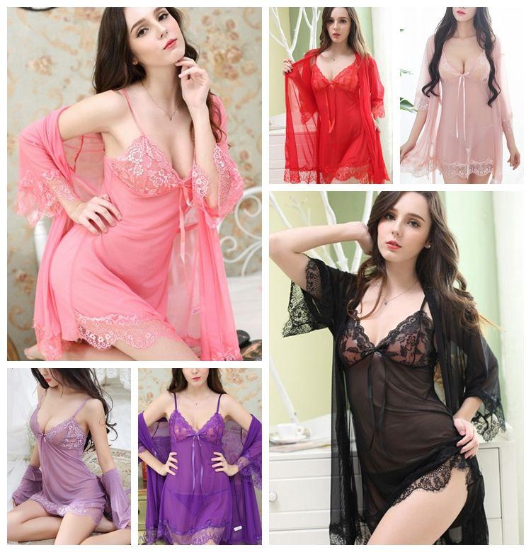 1f043935dace 2019 New Sexy Lingerie Cospla Chiffon Sexy Sling Mesh Deep V Lace Pajamas  Perspective Three Piece Mesh Gauze Nightdress From Wo115588, $7.62 |  DHgate.Com
