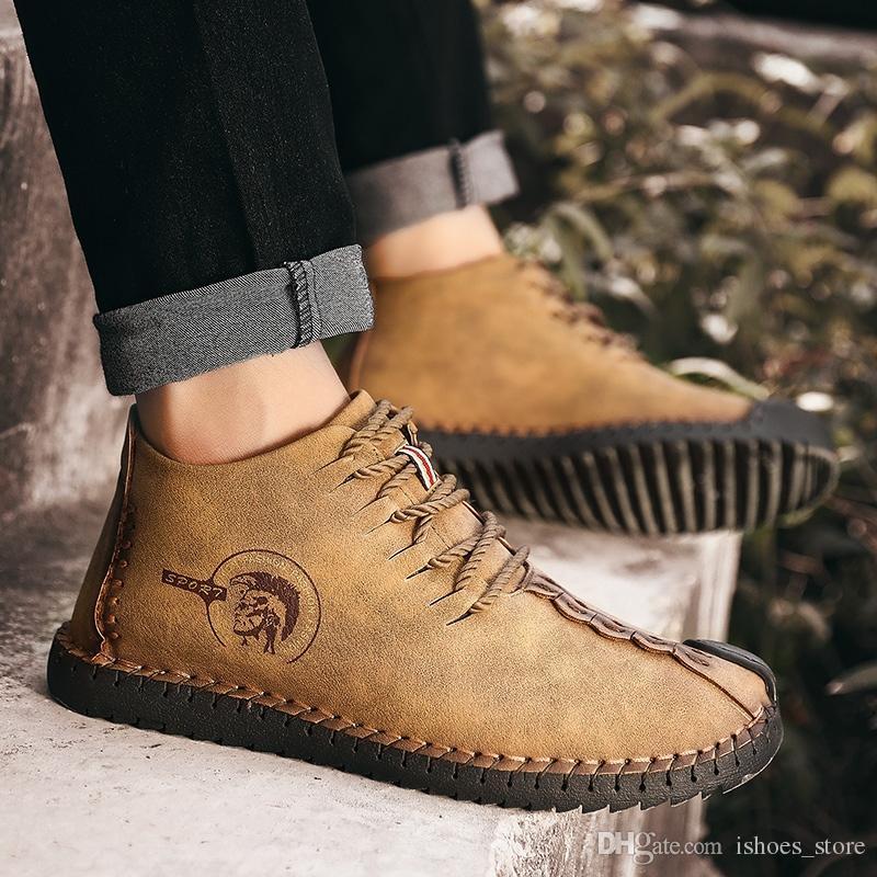 0aed64e177b8f 2018 Fashion Leather Shoes Men Retro Casual Shoes Moccasins Non Slip  Sneakers Super Hot Flats Black Zapatillas Hombre Men  161405 Wholesale Shoes  Cool Shoes ...