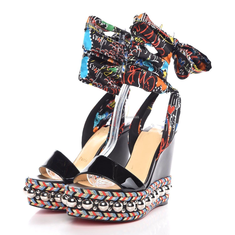 bff2152b86c Acheter Pas Cher Femmes Rouge Bottom Wedge Chaussures Été Levantine Or  Clouté Gladiator Sandalias Mode Lady Open Toe Plateforme Sandales  Compensées De ...